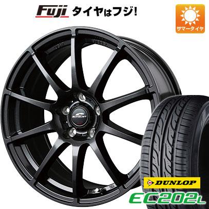 タイヤはフジ 送料無料 MID シュナイダー スタッグ 4.5J 4.50-14 DUNLOP EC202L 155/65R14 14インチ サマータイヤ ホイール4本セット