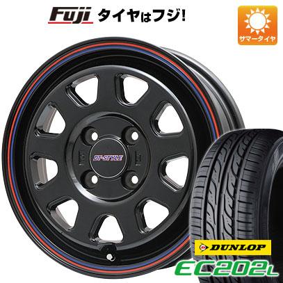 タイヤはフジ 送料無料 BIGWAY ビッグウエイ DT-STYLE 4.5J 4.50-14 DUNLOP EC202L 155/65R14 14インチ サマータイヤ ホイール4本セット