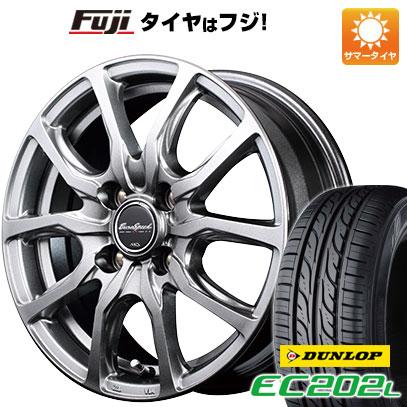 タイヤはフジ 送料無料 MID ユーロスピード G52 4.5J 4.50-14 DUNLOP EC202L 155/65R14 14インチ サマータイヤ ホイール4本セット