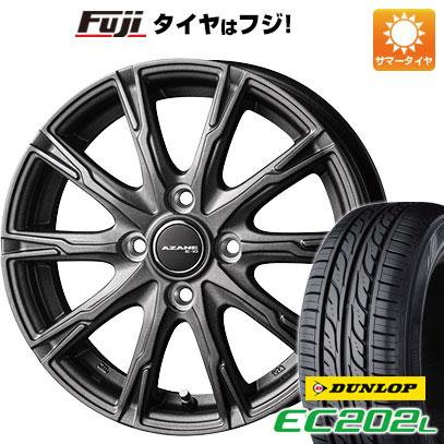 タイヤはフジ 送料無料 TOPY トピー アザーネ E10 4.5J 4.50-14 DUNLOP EC202L 155/65R14 14インチ サマータイヤ ホイール4本セット