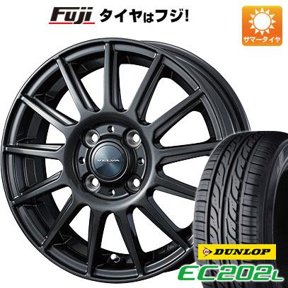 タイヤはフジ 送料無料 WEDS ウェッズ ヴェルバ イゴール 4.5J 4.50-14 DUNLOP EC202L 155/65R14 14インチ サマータイヤ ホイール4本セット