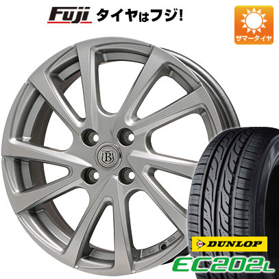 タイヤはフジ 送料無料 BRANDLE ブランドル E04 4.5J 4.50-14 DUNLOP EC202L 165/55R14 14インチ サマータイヤ ホイール4本セット