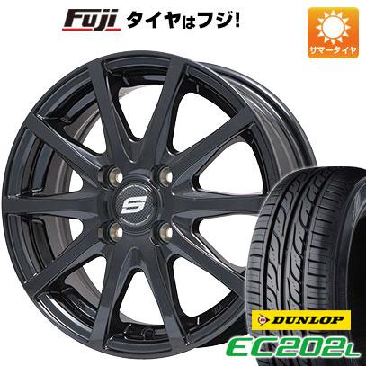 タイヤはフジ 送料無料 BRANDLE ブランドル M71B 4.5J 4.50-14 DUNLOP EC202L 155/65R14 14インチ サマータイヤ ホイール4本セット