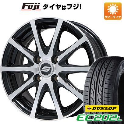 タイヤはフジ 送料無料 BRANDLE ブランドル M71BP 4.5J 4.50-14 DUNLOP EC202L 155/65R14 14インチ サマータイヤ ホイール4本セット