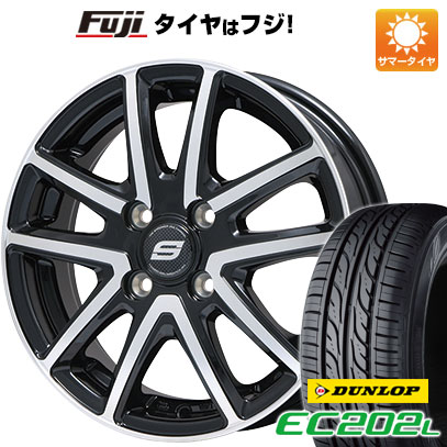 タイヤはフジ 送料無料 BRANDLE ブランドル M61BP 5.5J 5.50-14 DUNLOP EC202L 175/65R14 14インチ サマータイヤ ホイール4本セット