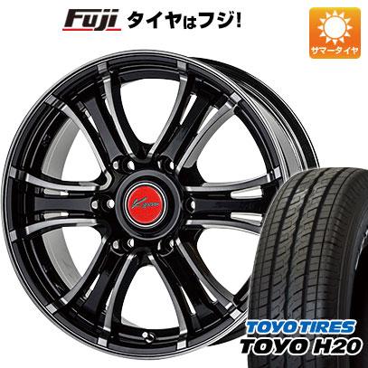 タイヤはフジ 送料無料 ハイエース200系 5ZIGEN ゴジゲン KOMA ブラックマン2 6J 6.00-15 TOYO H20 NEWホワイトレター 195/80R15 15インチ サマータイヤ ホイール4本セット