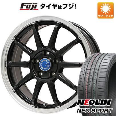 タイヤはフジ 送料無料 BRANDLE-LINE ブランドルライン カルッシャー ブラック リムポリッシュ 7.5J 7.50-18 NEOLIN ネオリン ネオスポーツ 限定 225 40R18 18インチ サマータイヤ ホイール4本セット