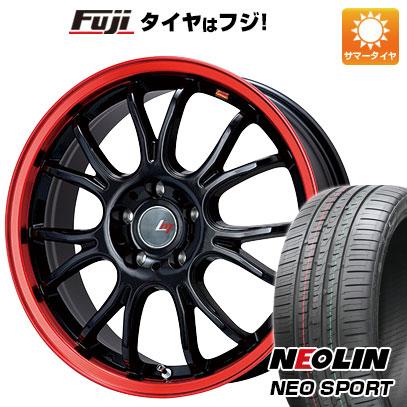 タイヤはフジ 送料無料 LEHRMEISTER レアマイスター ヴァッサーノ(ブラック/レッドクリア) 8J 8.00-19 NEOLIN ネオリン ネオスポーツ(限定) 245/45R19 19インチ サマータイヤ ホイール4本セット