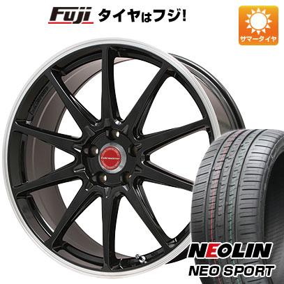タイヤはフジ 送料無料 LEHRMEISTER レアマイスター LMスポーツRS10(グロスブラックリムポリッシュ) 7.5J 7.50-17 NEOLIN ネオリン ネオスポーツ(限定) 225/55R17 17インチ サマータイヤ ホイール4本セット
