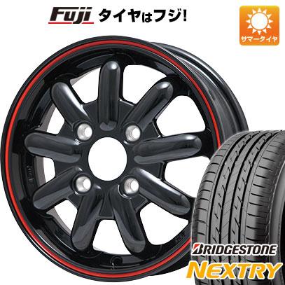 タイヤはフジ 送料無料 ブランドルライン ストレンジャーKST-9 (ブラック/レッドライン) 4.5J 4.50-14 BRIDGESTONE ブリヂストン NEXTRY ネクストリー(限定) 155/65R14 14インチ サマータイヤ ホイール4本セット