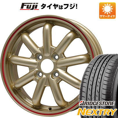 7/25はエントリーでポイント15倍 タイヤはフジ 送料無料 ブランドルライン ストレンジャーKST-9 (ゴールド/レッドライン) 4.5J 4.50-14 BRIDGESTONE ブリヂストン NEXTRY ネクストリー(限定) 155/65R14 14インチ サマータイヤ ホイール4本セット