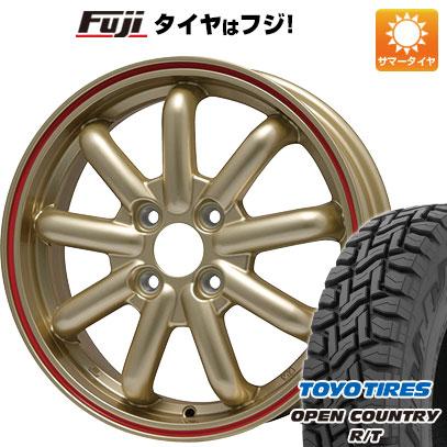 タイヤはフジ 送料無料 BRANDLE-LINE ストレンジャーKST-9 (ゴールド/レッドライン) 3.5J 3.50-12 TOYO OPEN COUNTRY R/T 80/78N 145/80R12 12インチ サマータイヤ ホイール4本セット