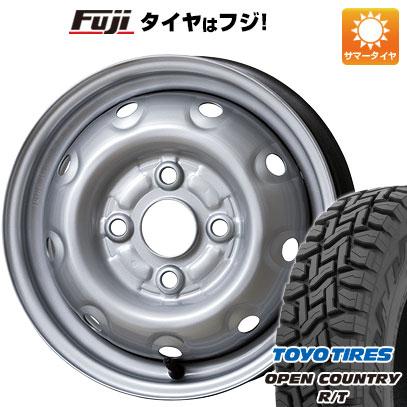 タイヤはフジ 送料無料 ELBE エルベ オリジナル スチール E46 3.5J 3.50-12 TOYO OPEN COUNTRY R/T 80/78N 145/80R12 12インチ サマータイヤ ホイール4本セット