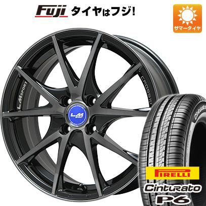 タイヤはフジ 送料無料 LEHRMEISTER レアマイスター LMスポーツクロス10 ブラックパールブラッククリア 6J 6.00-15 PIRELLI チンチュラートP6 185/60R15 15インチ サマータイヤ ホイール4本セット