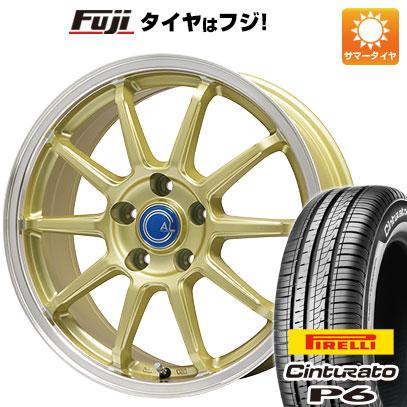 タイヤはフジ 送料無料 BRANDLE-LINE ブランドルライン カルッシャー ゴールド/リムポリッシュ 6.5J 6.50-16 PIRELLI チンチュラートP6 195/60R16 16インチ サマータイヤ ホイール4本セット