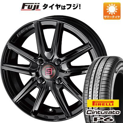 タイヤはフジ 送料無料 KYOHO 共豊 キョウホウ ザインSS ブラックエディション 5.5J 5.50-15 PIRELLI チンチュラートP6 185/65R15 15インチ サマータイヤ ホイール4本セット