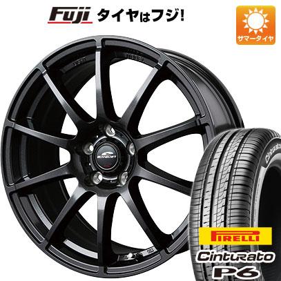 タイヤはフジ 送料無料 シエンタ 5穴/100 MID シュナイダー スタッグ 6J 6.00-15 PIRELLI チンチュラートP6 185/60R15 15インチ サマータイヤ ホイール4本セット