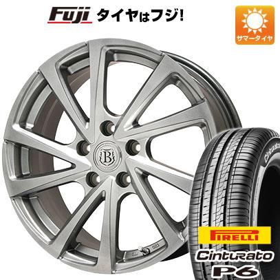 8月 2・5・8日はポイント倍増! タイヤはフジ 送料無料 BRANDLE ブランドル E04 6.5J 6.50-16 PIRELLI チンチュラートP6 215/65R16 16インチ サマータイヤ ホイール4本セット