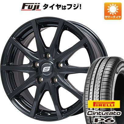 タイヤはフジ 送料無料 シエンタ 5穴/100 BRANDLE ブランドル M71B 6J 6.00-15 PIRELLI チンチュラートP6 185/60R15 15インチ サマータイヤ ホイール4本セット