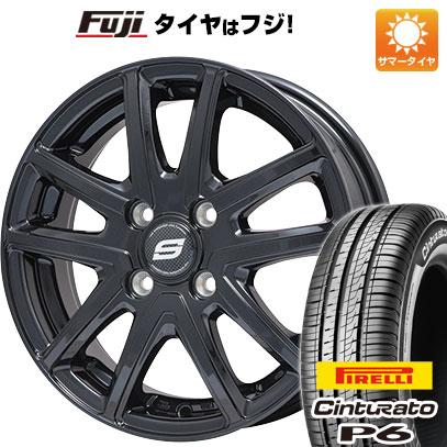 タイヤはフジ 送料無料 シエンタ 5穴/100 BRANDLE ブランドル M61B 6J 6.00-15 PIRELLI チンチュラートP6 185/60R15 15インチ サマータイヤ ホイール4本セット