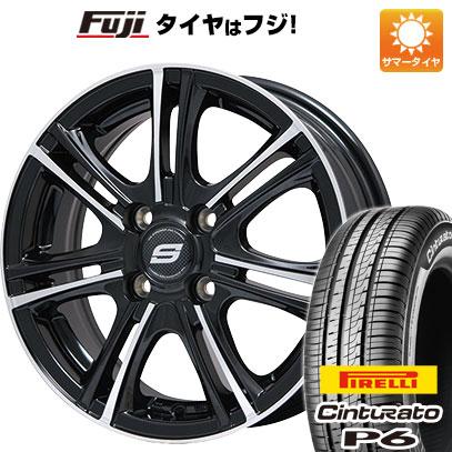 タイヤはフジ 送料無料 BRANDLE ブランドル M68BP 5.5J 5.50-15 PIRELLI チンチュラートP6 175/65R15 15インチ サマータイヤ ホイール4本セット