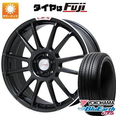 タイヤはフジ 送料無料 LEHRMEISTER LM-S トスカーナ6 (ブラック/リムポリッシュ) 7.5J 7.50-18 YOKOHAMA ブルーアース RV-02 235/65R18 18インチ サマータイヤ ホイール4本セット