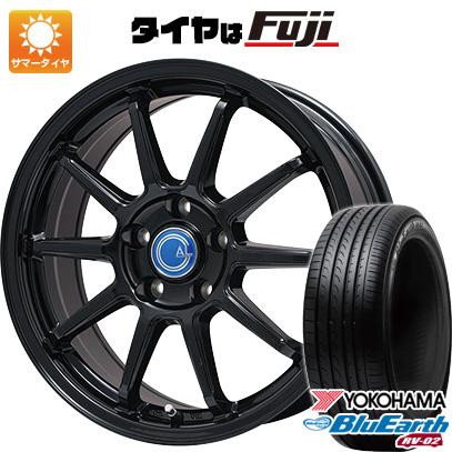 タイヤはフジ 送料無料 BRANDLE-LINE ブランドルライン カルッシャー ブラック 7J 7.00-17 YOKOHAMA ブルーアース RV-02 225/55R17 17インチ サマータイヤ ホイール4本セット