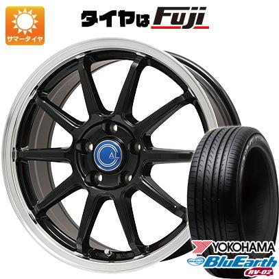 タイヤはフジ 送料無料 BRANDLE-LINE ブランドルライン カルッシャー ブラック/リムポリッシュ 7J 7.00-17 YOKOHAMA ブルーアース RV-02 215/45R17 17インチ サマータイヤ ホイール4本セット