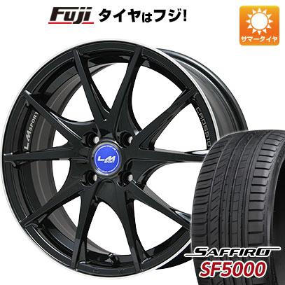 タイヤはフジ 送料無料 LEHRMEISTER レアマイスター LMスポーツクロス10 ブラックパール 6.5J 6.50-17 SAFFIRO サフィーロ SF5000(限定) 205/45R17 17インチ サマータイヤ ホイール4本セット