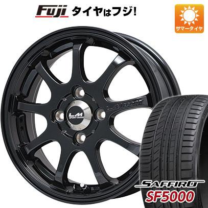 タイヤはフジ 送料無料 LEHRMEISTER レアマイスター LMスポーツファイナル(グロスブラック) 6.5J 6.50-16 SAFFIRO サフィーロ SF5000(限定) 195/50R16 16インチ サマータイヤ ホイール4本セット