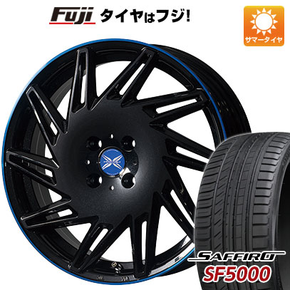 タイヤはフジ 送料無料 PREMIX プレミックス バリック(パールブラック/ブルークリア) 6.5J 6.50-17 SAFFIRO サフィーロ SF5000(限定) 205/40R17 17インチ サマータイヤ ホイール4本セット