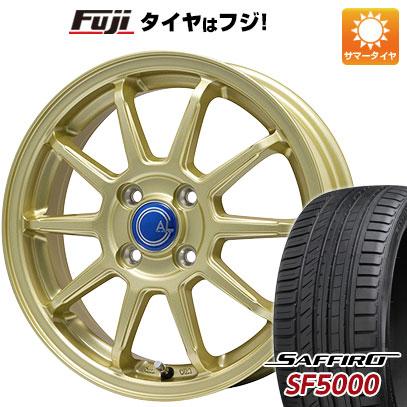 タイヤはフジ 送料無料 BRANDLE-LINE ブランドルライン カルッシャー ゴールド 5.5J 5.50-15 SAFFIRO サフィーロ SF5000(限定) 185/55R15 15インチ サマータイヤ ホイール4本セット