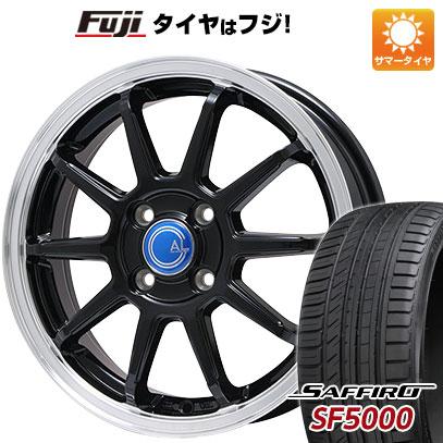 タイヤはフジ 送料無料 BRANDLE-LINE ブランドルライン カルッシャー ブラック/リムポリッシュ 5.5J 5.50-14 SAFFIRO サフィーロ SF5000(限定) 185/65R14 14インチ サマータイヤ ホイール4本セット