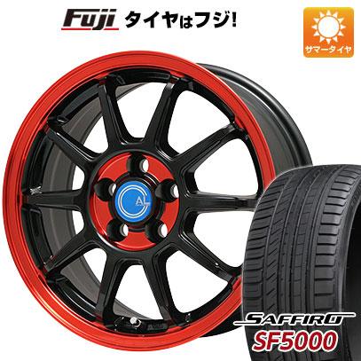 タイヤはフジ 送料無料 BRANDLE-LINE ブランドルライン カルッシャー ブラック/レッドクリア 5.5J 5.50-14 SAFFIRO サフィーロ SF5000(限定) 185/65R14 14インチ サマータイヤ ホイール4本セット