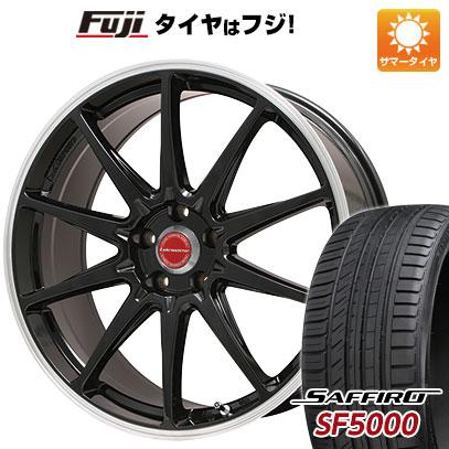 7/25はエントリーでポイント15倍 タイヤはフジ 送料無料 LEHRMEISTER レアマイスター LMスポーツRS10(グロスブラックリムポリッシュ) 8.5J 8.50-20 SAFFIRO サフィーロ SF5000(限定) 245/40R20 20インチ サマータイヤ ホイール4本セット