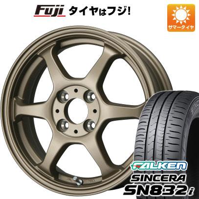 タイヤはフジ 送料無料 LEHRMEISTER リアルスポーツ カリスマVS6 5J 5.00-14 FALKEN シンセラ SN832i 155/65R14 14インチ サマータイヤ ホイール4本セット