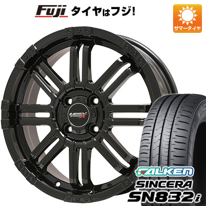 タイヤはフジ 送料無料 BIGWAY ビッグウエイ B-MUD X(グロスブラック) 4.5J 4.50-14 FALKEN シンセラ SN832i 155/65R14 14インチ サマータイヤ ホイール4本セット