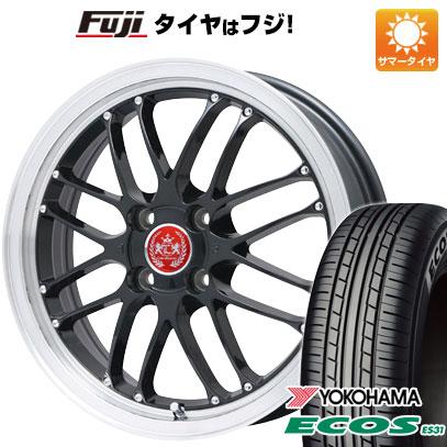タイヤはフジ 送料無料 LEHRMEISTER レアマイスター ブルネッロ(ブラック/リムポリッシュ) 6.5J 6.50-16 YOKOHAMA エコス ES31 185/55R16 16インチ サマータイヤ ホイール4本セット
