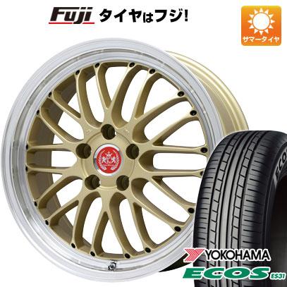 タイヤはフジ 送料無料 LEHRMEISTER レアマイスター ブルネッロ(ゴールド/リムポリッシュ) 7J 7.00-17 YOKOHAMA エコス ES31 205/50R17 17インチ サマータイヤ ホイール4本セット