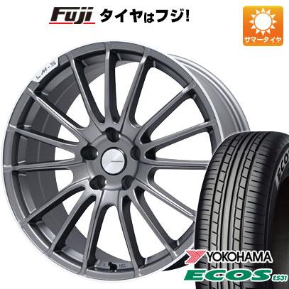 タイヤはフジ 送料無料 LEHRMEISTER LM-S トレント15 (マットグラファイト/リムポリッシュ) 7.5J 7.50-18 YOKOHAMA エコス ES31 225/45R18 18インチ サマータイヤ ホイール4本セット