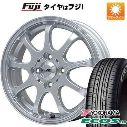 タイヤはフジ 送料無料 LEHRMEISTER LMスポーツファイナル(メタリックシルバー) 4.5J 4.50-14 YOKOHAMA エコス ES31 165/60R14 14インチ サマータイヤ ホイール4本セット