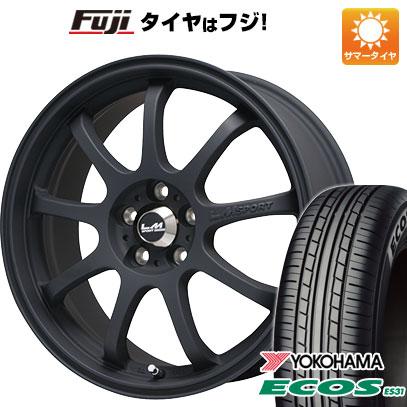 タイヤはフジ 送料無料 LEHRMEISTER レアマイスター LMスポーツファイナル(マットブラック) 7.5J 7.50-17 YOKOHAMA エコス ES31 215/45R17 17インチ サマータイヤ ホイール4本セット