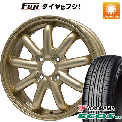 タイヤはフジ 送料無料 BRANDLE-LINE ブランドルライン ストレンジャーKST-9 (ゴールド) 4.5J 4.50-14 YOKOHAMA エコス ES31 165/65R14 14インチ サマータイヤ ホイール4本セット