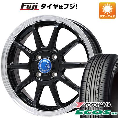 タイヤはフジ 送料無料 ソリオ(MA26S) BRANDLE-LINE カルッシャー ブラック/リムポリッシュ 4.5J 4.50-14 YOKOHAMA エコス ES31 165/70R14 14インチ サマータイヤ ホイール4本セット