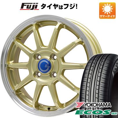 タイヤはフジ 送料無料 BRANDLE-LINE カルッシャー ゴールド/リムポリッシュ 4.5J 4.50-14 YOKOHAMA エコス ES31 165/60R14 14インチ サマータイヤ ホイール4本セット