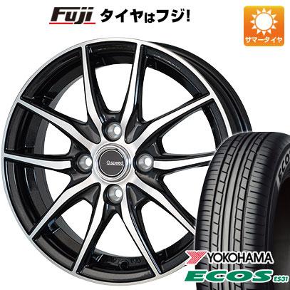 タイヤはフジ 送料無料 HOT STUFF ホットスタッフ ジースピード P-02 4.5J 4.50-14 YOKOHAMA エコス ES31 155/65R14 14インチ サマータイヤ ホイール4本セット