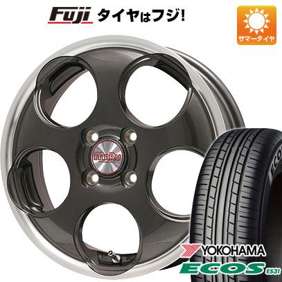 タイヤはフジ 送料無料 PREMIX マル(ガンメタ/リムポリッシュ) 4.5J 4.50-15 YOKOHAMA エコス ES31 165/55R15 15インチ サマータイヤ ホイール4本セット