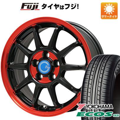 タイヤはフジ 送料無料 BRANDLE-LINE ブランドルライン カルッシャー ブラック/レッドクリア 4.5J 4.50-14 YOKOHAMA エコス ES31 165/55R14 14インチ サマータイヤ ホイール4本セット
