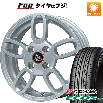 タイヤはフジ 送料無料 ソリオ(MA36S) PREMIX プレミックス ポリ(メタリックシルバー) 4.5J 4.50-15 YOKOHAMA エコス ES31 165/65R15 15インチ サマータイヤ ホイール4本セット