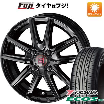 タイヤはフジ 送料無料 KYOHO 共豊 キョウホウ ザインSS ブラックエディション 4.5J 4.50-14 YOKOHAMA エコス ES31 165/55R14 14インチ サマータイヤ ホイール4本セット
